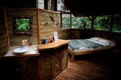 Bedroom in Finca Bellavista, a sustainable treehouse community in Costa Rica.