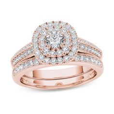 7/8+CT.+T.W.+Diamond+Double+Cushion+Frame+Multi-Row+Vintage-Style+Bridal+Set+in+14K+Rose+Gold