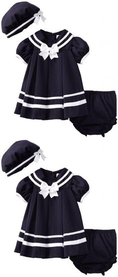 Rare Editions Baby Girls 3 Piece Navy Nautical Dress and Hat Set - 12-24 Months - This adorable baby girls infants 3 piece dress set from Rare Editions features a cap sleeves navy top with a back flap sailor collar, a white grosgrain bow and back button closure. Matching pull-on di... - Dresses - Apparel -