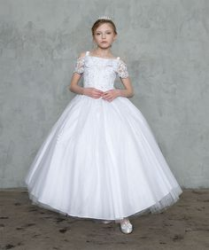 7235aee137116 Details about White Flower Girls First Communion Gown Princess Long Dress  Glitter Off-Shoulder