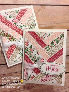 "Since I still had a lot of the Love Blossoms DSP left and it retires in a few short days, I made a bunch of these ""Herringbone"" cards for different occasions and arranged them into gift sets.Create with Gwen, Stampin' Up! Independent Demonstrator,:"