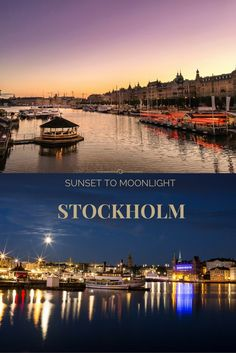 Stockholm photostory: from sunset  to moonlight. Go on your own night walk…