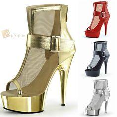 Stiefeletten 10cm Pumps Stilettos Ankle Boots Italy Plateau Peep Toe Netz Gold