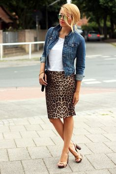 Tame the leopard with some denim. Perfect for a summer concert or jaunt to wine country.
