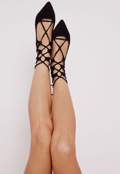 Point Lace Up Flats Black Suede - Shoes - Flat Shoes - Missguided