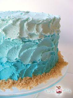 Bird On A Cake: Ombre Beach Cake with Sand Dollars