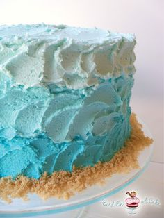 Bird On A Cake: Ombre Beach Cake with Sand Dollars