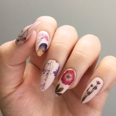 Pressed Dried Flowers Design Water Slide Nail Decals/Nail Tattoos/Nail Stickers by jsfrnNailArt