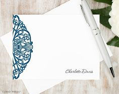 INTRICATE MEDALLION - Personalized Flat Stationery Set - Elegant Women's Professional Note Cards, Stationary Thank You Cards, Custom Set of Flat Notecards and Envelopes >>> Unbelievable product right here! : Handmade Gifts