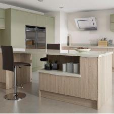 Setosa Painted Sage Grey and Bardolino Oak finish kitchen from the Sheraton range of modern fitted kitchens. Independent Kitchen Design, Bristol, Modern Kitchen Island, Kitchen Cabinets, Sage, Home Decor, Fitted Kitchens, Grey, Island Design