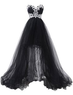 Sexy Sweetheart White Appliques High-low Tulle Black Prom Dresses