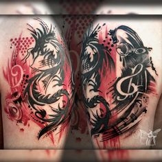 "Képtalálat a következőre: ""trash polka"" Symbol Tattoos, Music Tattoos, Tatoos, Dragon Tattoo Designs, Dragon Tattoos, Trash Polka Tattoo, Cool Tats, Picture Tattoos, Tattoos Pics"