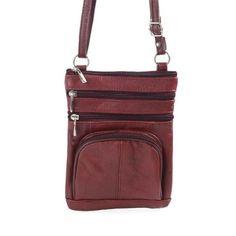 Roma Leathers Genuine Leather Multi-Pocket Crossbody Purse Bag (Wine) - http://leather-handbags-shop.com/roma-leathers-genuine-leather-multi-pocket-crossbody-purse-bag-wine-2/