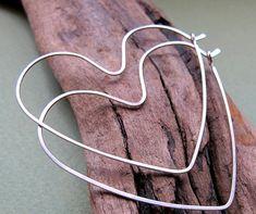 Sterling Silver Heart Earrings  Heart Endless by NadinArtDesign, $28.00