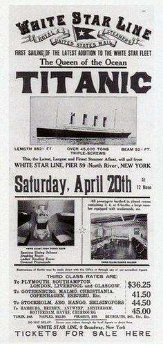 Titanic ticket advertisement.