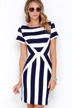 4b9e7129d6877 Free at Sea Ivory and Navy Blue Striped Bodycon Dress
