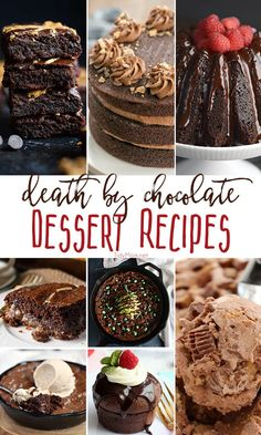 When looking to bake something for parties or special occasions, you can never go wrong with chocolate dessert recipes. These death by chocolate dessert recipes will knock their socks off! Each one is a show-stopper, perfect for any occasion! Mini Desserts, Chocolate Desserts, Easy Desserts, Delicious Desserts, Dump Cake Recipes, Best Dessert Recipes, Cookie Recipes, Fast Recipes, Yummy Recipes