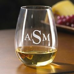 Monogrammed Wine Enthusiast U Chardonnay Stemless Wine Glasses (Set of Personalized Graduation Gifts, Personalized Wine, Chardonnay Wine, Wine Chiller, Wine Refrigerator, Stemless Wine Glasses, Wine Storage, Wine Gifts, Wines