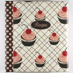 Gibson Pocket Page Recipe Book, Jessie Steele Cherry Cupcakes Recipe Holder, Recipe Box, Cookbook Recipes, Cooking Recipes, Recipe Book Covers, Cherry Cupcakes, Valentine Day Cupcakes, Recipe Binders, Gifts For Cooks