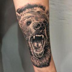 Grimmiges Bären Tattoos Wolf Tattoo Sleeve, Leg Tattoo Men, Tattoo Motive, Leg Tattoos, Sleeve Tattoos, Tatoos, Octopus Tattoos, Mandala Tattoo, Tattoos For Guys Badass