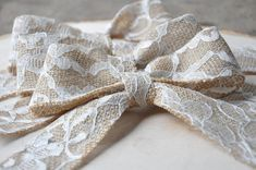 Burlap and Lace Bow  Rustic Wedding Bow  by SettingUpHouse on Etsy, $4.50
