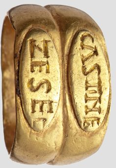 Gold ring with inscription, Roman, 3rd Century.