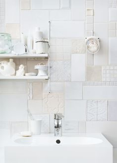 Tiles ... love it so much. A potential way (maybe if lucky) to use found and random mismatched tiles from salvage places - old and new all in shades of white .... I want to try it.