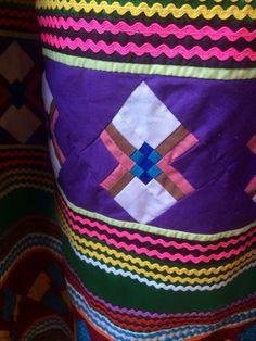 Vintage Colorful Multi-Layered Patchwork *Seminole* Miccosukee* Long Skirt detail