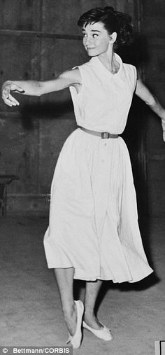 Got the moves: Audrey Hepburn, a former ballet dancer (pictured in Rome on the set of War and Peace in 1955), said she thought her feet were too big