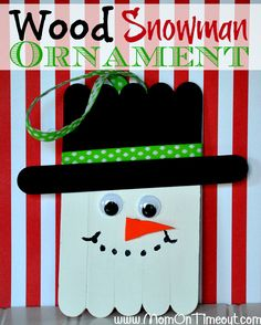 These quick and easy Christmas kids crafts can be made in under 30 minutes! No special tools or skills needed, so ANYONE can make these fun holiday crafts! Christmas crafts for kids. Wood Snowman, Snowman Crafts, Snowman Ornaments, Diy Christmas Ornaments, How To Make Ornaments, Craft Stick Crafts, Kids Christmas, Snowman Wreath, Christmas Snowman