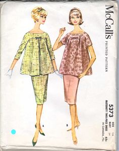 Vintage 60's Sewing Pattern Maternity 2 Piece Dress Inverted Pleat Wiggle Skirt Bust 34 Size 14 McCall's 5373. $10.00, via Etsy.
