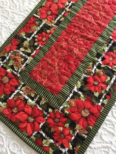 Christmas Table Runner Quilt, Poinsettia, Red, Green, Quiltsy Handmade by KeriQuilts on Etsy