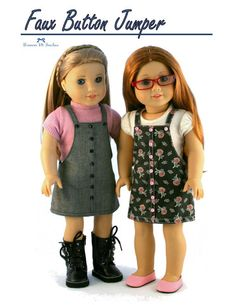 Forever 18 Inches Faux Button Jumper Doll Clothes Pattern 18 inch American Girl Dolls   Pixie Faire