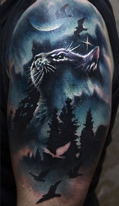 Cat hlaf sleeve tattoo - 100 Examples of Cute Cat Tattoo