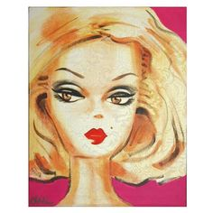 """Original Debbie Curtis """"barbie"""" style paintings, acrylic on canvas, available for purchase at www.rugandrelic.com"""