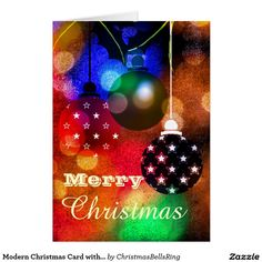 Modern Christmas Card with Ornaments