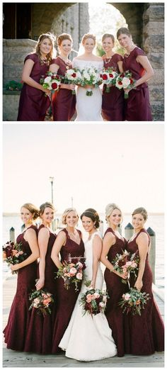 Burgundy Bouquets with Navy Bridesmaid Dresses