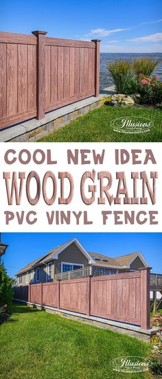 Vinyl PVC Wood Grain Privacy Fencing Panels in Walnut by Illusions Vinyl Fence are a Great Good Neighbor Fence Idea for Your Home. #fenceideas #fence #vinylfencing #homedecor