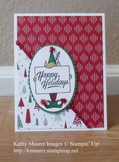 Christmas Card made with Stampin' Up!'s Festive Phrases Stamp Set and Be Merry Designer Series Paper.  For details, go to my Monday, November 13, 2017, blog at http://www.stampinup.net/blog/2130686/entry/freshly_made_sketches_312