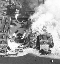 Image detail for -... of USS Lafayette (AP-53) / SS Normandie Fire - New York City, New York