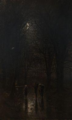 Ladislav Mednyánszky, Night Pilgrims at the Crucifix. Trip through the Forest