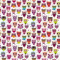 Wallpaper with little owls by Maaike Boot