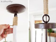 Dining Room Update – DIY Twine Chandelier Chain Cover - All For Decoration Chandelier Chain, Kitchen Chandelier, Dining Room Lighting, Home Lighting, Cabin Lighting, Rustic Lighting, Lighting Ideas, Dining Rooms, Diy Luminaire
