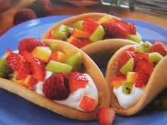 Sugar Cookie Fruit Tacos: sugar cookie dough, cinnamon, whipping cream, sugar, favorite fruit of choice. Fun Cinco de Mayo dessert and kids would love these!