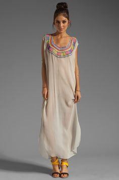 Mara Hoffman Beaded Chiffon Dashiki Maxi Dress en Sable   REVOLVE
