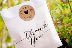 Simple Thank You Bags  Wedding Favor Bag   Wax Lined by mavora, $22.50