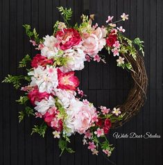 Pink Hydrangea and Peony Spring Wreath for Front Door