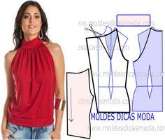 MOLDE DE BLUSA FRANZIDA NO DECOTE -95 - Moldes Moda por Medida