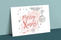 Lekker persoonlijk: je kerstkaart handletteren met deze 9 gratis designtemplates | Drukwerkdeal.nl Merry Xmas, Objects, Template, Christmas, Hand Written, Custom Map, Happy Holidays, Doodle, Wish