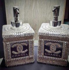 Chanel Liquid Soap and Lotion dispensor! A little Bling in the Bathro… - DIY Badezimmer Dekor